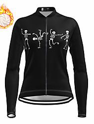 cheap -21Grams Women's Long Sleeve Cycling Jersey Winter Fleece Spandex Black Skull Bike Top Mountain Bike MTB Road Bike Cycling Fleece Lining Warm Moisture Wicking Sports Clothing Apparel / Stretchy
