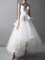 cheap -A-Line Wedding Dresses V Neck Spaghetti Strap Asymmetrical Floor Length Satin Tulle Sleeveless Simple Glamorous Sexy with Buttons Ruffles 2021