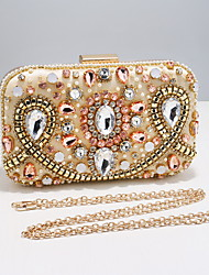 cheap -Women's Bags Polyester Evening Bag Crystals Chain Solid Color Party / Evening Daily Retro Evening Bag Chain Bag Blushing Pink Gold Black