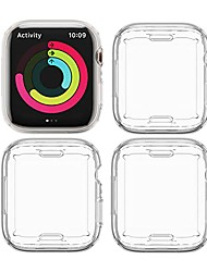 cheap -4 pack  compatible with apple watch 7 case 45mm, soft tpu full protector bumper cover for iwatch 7 accessories 45mm