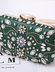 cheap -Women's Bags Polyester Evening Bag Crystals Chain Party / Evening Going out Retro Evening Bag Chain Bag Green White Black Beige