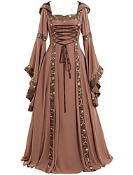 cheap -Women's A Line Dress Maxi long Dress Blue Khaki Black Red Long Sleeve Color Block Ruched Lace up Fall Winter Square Neck Casual Vintage Flare Cuff Sleeve 2021 S M L XL XXL 3XL 4XL 5XL