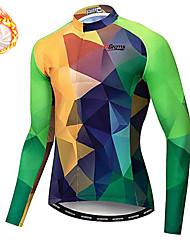 cheap -21Grams Men's Long Sleeve Cycling Jersey Winter Fleece Spandex Green Bike Top Mountain Bike MTB Road Bike Cycling Quick Dry Moisture Wicking Sports Clothing Apparel / Stretchy / Athleisure