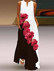 cheap -Women's A Line Dress Maxi long Dress Blushing Pink Gray White Black Red Sleeveless Floral Print Pocket Print Fall Summer V Neck Casual 2021 S M L XL XXL 3XL 4XL 5XL