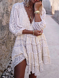 cheap -Women's A Line Dress Knee Length Dress White 3/4 Length Sleeve Solid Color Lace Fall Summer V Neck Casual 2021 M L XL XXL 3XL 4XL