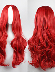 cheap -halloweencostumes Cosplay Costume Wig Synthetic Wig Curly Wavy Wavy Asymmetrical Wig Long Red Synthetic Hair Women's Natural Hairline Red