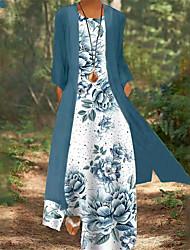 cheap -Women's A Line Dress Maxi long Dress Blue Purple Green Lavender White Red Light Blue Long Sleeve Floral Print Fall Spring Round Neck Casual Modern Holiday 2021 M L XL XXL 3XL 4XL 5XL / Loose