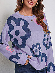 cheap -Women's Pullover Sweater Jumper Knitted Floral Stylish Casual Soft Long Sleeve Sweater Cardigans Crew Neck Fall Winter Purple Green White
