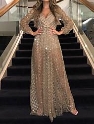 cheap -Women's Party Dress Maxi long Dress Gold Black Long Sleeve Solid Color Sequins Fall V Neck Elegant Sexy 2021 S M L XL XXL