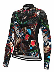 cheap -21Grams Women's Long Sleeve Cycling Jersey Spandex Black Butterfly Bike Top Mountain Bike MTB Road Bike Cycling Quick Dry Moisture Wicking Sports Clothing Apparel / Stretchy / Athleisure