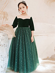 cheap -Princess Floor Length Flower Girl Dresses Party Tulle 3/4 Length Sleeve Jewel Neck with Beading