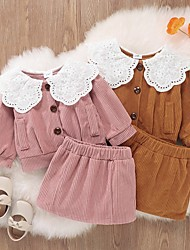 cheap -2 Pieces Baby Girls' Clothing Set Active Fashion Vacation Yellow Blushing Pink Solid Color Patchwork Long Sleeve Regular