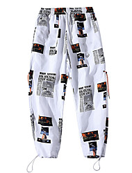 cheap -Men's Stylish Streetwear Outdoor Sports Jogger Chinos Daily Going out Pants Letter Ankle-Length Classic Pocket White Black