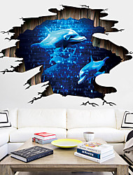 cheap -3D Animals Wall Stickers Living Room Kids Room Kindergarten Removable Pre-pasted PVC Home Decoration Wall Decal 90*60cm
