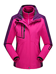 cheap -Women's Hoodie Jacket Hiking Windbreaker Hiking Fleece Jacket Winter Outdoor Solid Color Thermal Warm Waterproof Windproof Detachable Fleece Outerwear 3-in-1 Jacket Winter Jacket Single Slider