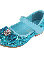 cheap -Girls' Heels Glitters Flower Girl Shoes PU Little Kids(4-7ys) Toddler(2-4ys) Party Wedding Sequin Crystals / Rhinestones Blue Pink Silver Fall Spring
