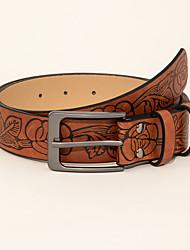 cheap -Women's Waist Belt Dailywear Office Brown Belt Floral