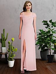 cheap -Sheath / Column Spaghetti Strap / Off Shoulder Floor Length Chiffon Bridesmaid Dress with Split Front