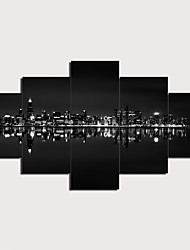 cheap -5 Panels Wall Art Canvas Prints Painting Artwork Picture City Painting Home Decoration Decor Rolled Canvas No Frame Unframed Unstretched