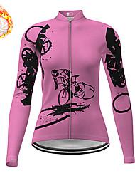 cheap -21Grams Women's Long Sleeve Cycling Jersey Winter Fleece Spandex Pink Gear Bike Top Mountain Bike MTB Road Bike Cycling Quick Dry Moisture Wicking Sports Clothing Apparel / Stretchy / Athleisure