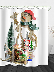 cheap -Christmas Snowman Printed Waterproof Fabric Shower Curtain Bathroom Home Decoration Covered Bathtub Curtain Lining Including hooks.