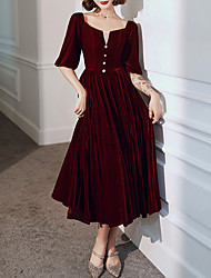 cheap -A-Line Elegant Princess Homecoming Cocktail Party Dress Scoop Neck Half Sleeve Tea Length Velvet with Pleats Beading 2021