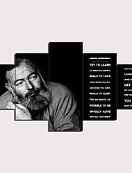 cheap -5 Panels Wall Art Canvas Prints Painting Artwork Picture Ernest Hemingway Quotes Painting Home Decoration Decor Rolled Canvas No Frame Unframed Unstretched