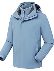 cheap -Men's Women's Hiking 3-in-1 Jackets Ski Jacket Hiking Fleece Jacket Winter Outdoor Solid Color Thermal Warm Waterproof Windproof Warm Hoodie Windbreaker Trench Coat Full Length Visible Zipper Fishing