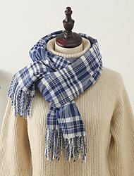 cheap -Women's Shawls & Wraps Christmas Coffee Scarf Plaid Basic Blue  Fall Winter Polyester