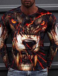 cheap -Men's Tee T shirt 3D Print Graphic Wolf 3D Print Long Sleeve Casual Tops Casual Fashion Designer Comfortable Black