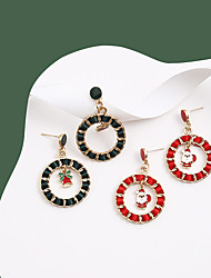 cheap -Women's Earrings Hollow Out Santa Suits Bell Stylish Unique Design Dangling European Cute Earrings Jewelry Red / Dark Green For Christmas Street Daily Bar Festival