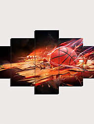 cheap -5 Panels Wall Art Canvas Prints Painting Artwork Picture Basketball Ball Art Painting Home Decoration Decor Rolled Canvas No Frame Unframed Unstretched