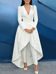 cheap -Jumpsuits Celebrity Style Elegant Engagement Formal Evening Dress V Neck Long Sleeve Floor Length Satin with Sash / Ribbon Overskirt Appliques 2021