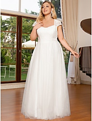 cheap -A-Line Wedding Dresses Square Neck Floor Length Lace Tulle Cap Sleeve Romantic with Lace 2021