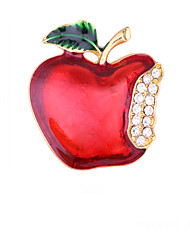 cheap -Women's Brooches Geometrical Apple Artistic Fashion European Sweet Brooch Jewelry Red Green White For Christmas Daily Festival