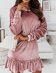 cheap -Women's A Line Dress Short Mini Dress Blushing Pink Khaki Black Long Sleeve Solid Color Lace up Ruffle Fall Hooded Elegant Casual Regular Fit 2021 S M L XL