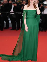 cheap -Sheath / Column Celebrity Style Sexy Engagement Formal Evening Dress Strapless Sleeveless Court Train Chiffon with Sleek 2021
