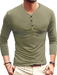 cheap -Men's T shirt Solid Color Button-Down Long Sleeve Casual Tops Lightweight Fashion Slim Fit Big and Tall Wine Army Green Royal Blue