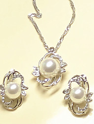 cheap -Women's Bridal Jewelry Sets Geometrical Precious Fashion Imitation Pearl Silver Plated Earrings Jewelry Silver For Christmas Party Wedding Gift Festival 1 set