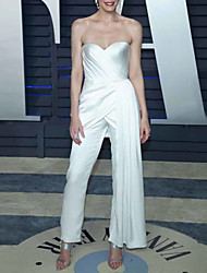 cheap -Jumpsuits Celebrity Style Elegant Engagement Formal Evening Dress Sweetheart Neckline Strapless Sleeveless Ankle Length Charmeuse with Draping 2021