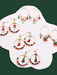 cheap -Women's Earrings Fancy Santa Suits Shoe Bell Stylish Unique Design Ethnic European Cute Earrings Jewelry Red / Burgundy / Green For Christmas Party Street Daily Bar