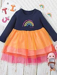 cheap -Kids Little Girls' Dress Rainbow A Line Dress Casual Daily Holiday Mesh Print Orange Midi Long Sleeve Casual Cute Dresses Fall Winter Regular Fit 2-6 Years