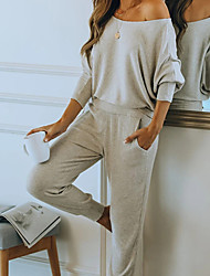 cheap -Women's Breathable Loungewear Sets Home Street Daily Basic Elastic Waist Pure Color Cotton Blend Simple Fashion Soft Sport Hoodie Pant Fall Winter Crew Neck Long Sleeve Long Pant Not Specified Pocket