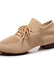 cheap -Women's Jazz Shoes Dance Shoes Oxford Thick Heel Red Pink Camel Lace-up Elastic Adults' / Performance / Practice