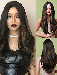 cheap -Natural Long Wave Black Brown Highlight Wig Middle Part Daily Synthetic Hair Wig for Black Women Afro Heat Resistant