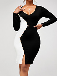 cheap -Women's Sheath Dress Knee Length Dress Black Long Sleeve Color Block Patchwork Button Fall Boat Neck Work Elegant Casual 2021 S M L XL XXL 3XL
