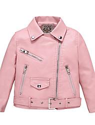 cheap -Kids Girls' Jacket Coat Long Sleeve Blushing Pink Black Red Plain Zipper Pocket Street Sport Vacation Active Streetwear Cool Sport 2-8 Years