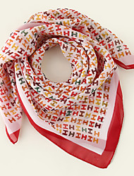 cheap -Women's Square Scarf Party Red Scarf Letter Chiffon Fall Spring