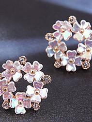 cheap -Women's Stud Earrings Earrings Classic Flower Korean Cute Sweet Imitation Diamond Earrings Jewelry Gold For Party Wedding Gift Prom Work 1 Pair