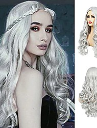 cheap -Grey Wig Long Curly Natural Wavy Full Wigs Synthetic Hair Wigs for Women Heat Resistant Karneval Cosplay Halloween